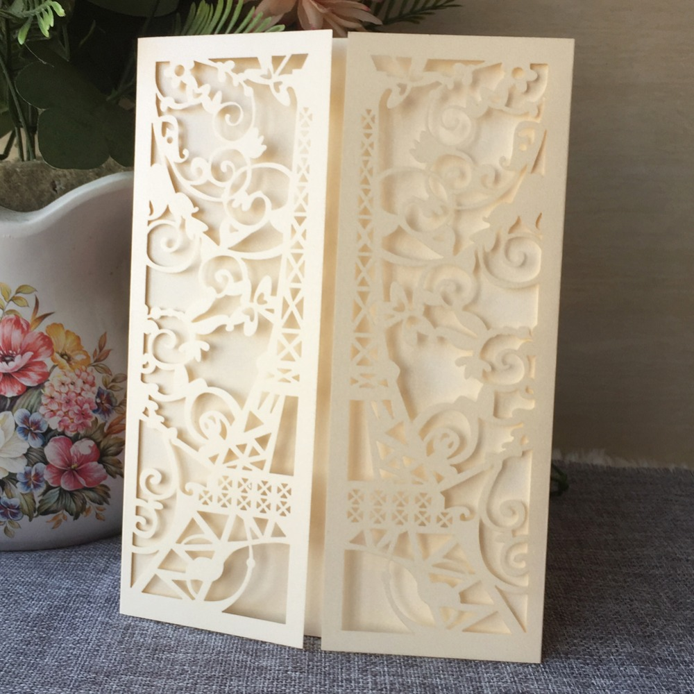 50Pcs Lot Tower Design Laser Cut Latest Wedding Invitations 24 Colors Birthday Party Invitation Card Greeting