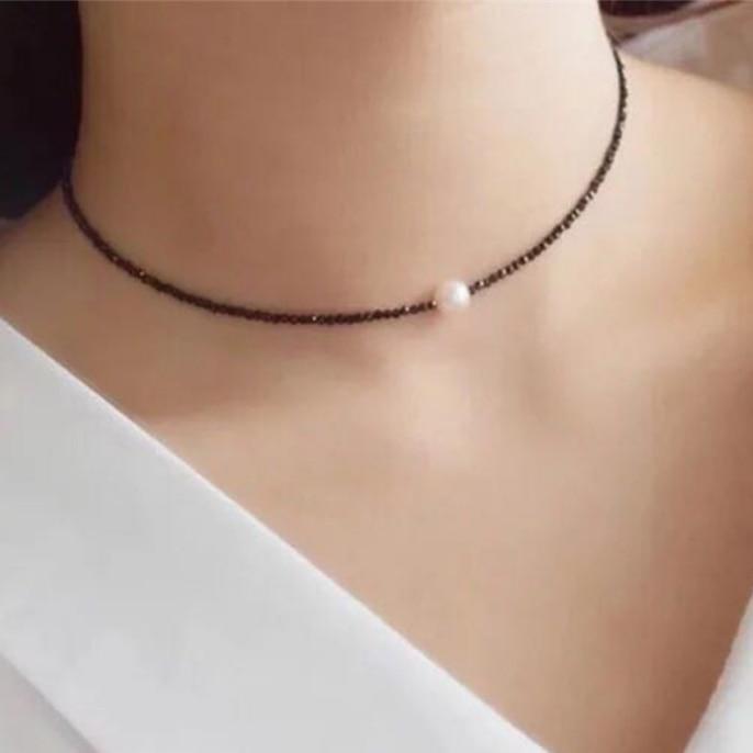 2017 Trendy Mode Temperament Strass Halsband Halskette Delicate Simulierte Perle Kurze Schlüsselbein Halsketten Frauen Kolye Den Menschen In Ihrem TäGlichen Leben Mehr Komfort Bringen