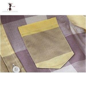 Image 4 - Kung Fu Ant 2020 sıcak pamuklu uzun kollutişört Turn down yaka sarı ekose çocuk 3 10 yaş çocuklar erkek gömlek 2349