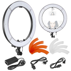 Neewer18-inch Outer SMD LED Ring Light Top/Bottom Dual HotShoe and Color Filters Dimmable5500K Camera/Smartphone Light US/EUPlug