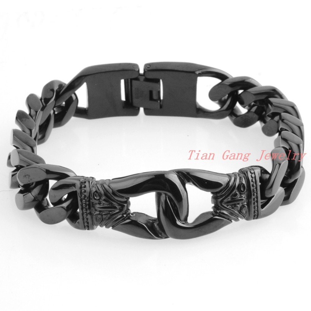 Black Plated Stainless Steel Mens Charm Bracelets Retro Mens Bracelets High Quality Cool Male Biker Jewelry Accessory