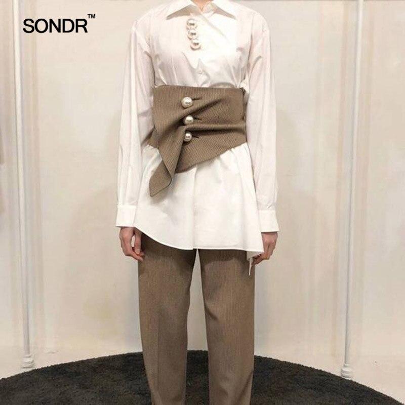 SONDR Irregular Fold Pearl Waist Closure Grid Restoring Ancient Ways Belt