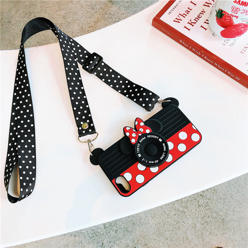 Cute Cartoon Minnie Mickey Mouse 3D Silicone Case with Should Lanyard for iPhone XS MAX XS XR X 7 8 plus 7 8 6 6s 6s plus Funda(China)