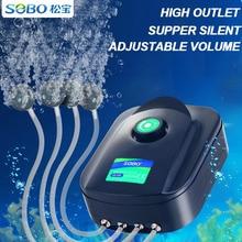 SOBO عالية الطاقة 8 واط 12 واط خزان الأسماك مضخة هوائية للأوكسجين حوض السمك ضاغط الهواء قابل للتعديل تدفق الهواء مضخة أكسجين للأسماك