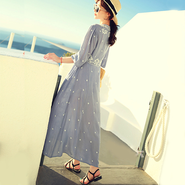 b3396cc3bf Ethnic Embroidery Bohemian Boho Hippie Dress Maxi Long Linen vintage Tunic  white blue Beach women summer ladies tunique femme-in Dresses from Women s  ...
