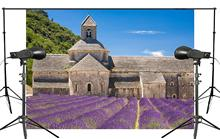 Beautiful Provence Manor Photography Background Purple Lavender Scenery Ancient Architecture Backdrop