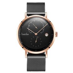 Image 5 - Bestdon Bauhaus montre bracelet à Quartz, à grand cadran en acier inoxydable, marque de luxe, tendance Simple, Ultra fine, collection montre pour hommes