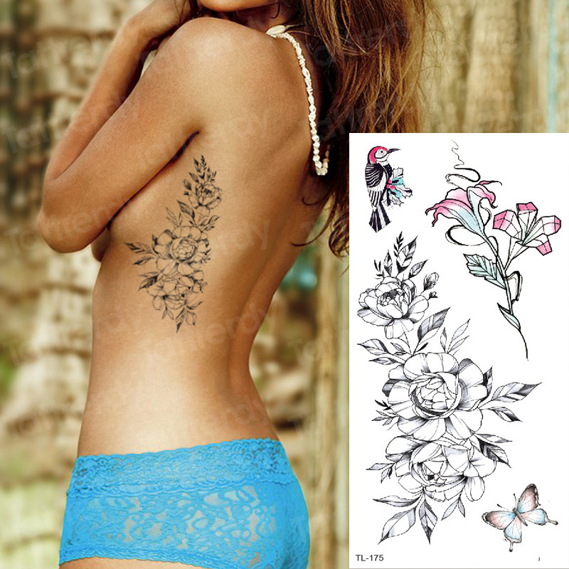 Sketch Flower Tattoo Sexy Waterproof Temporary Tattoo Women Tattoo Stickers Body Art Decal Tatoo Breast Sketches Tattoo Designs
