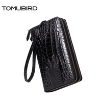 2019 New cowhide men genuine Leather bag fashion Crocodile pattern Leather wallets zipper clutch bag men famous brands