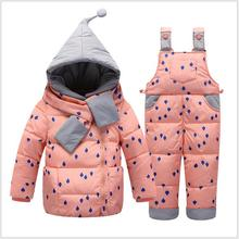 New Baby Girls Down Coat Warm Snowsuits Hooded Jackets+bib Pants 2pcs Winter Children baby Clothing Set Kids Ski Suit Overalls