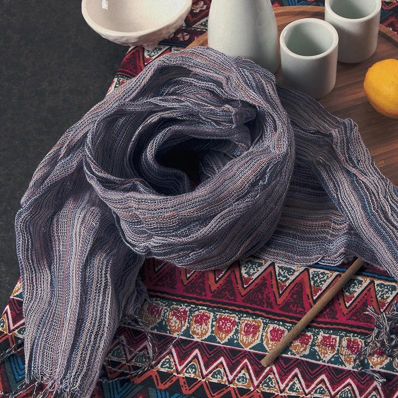 100% Mujeres de lino 2015 Verano Otoño Moda de la raya fresca Precio al por mayor 160 cm Bufanda Cómoda Borla Ocio Bufandas 5 colores