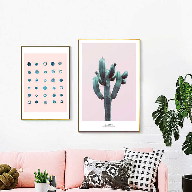 Pink Series Woman Cactus Modern Vouge Nordic Poster and Prints Canvas Giclee Art Wall Picture for Living Room Home Decor