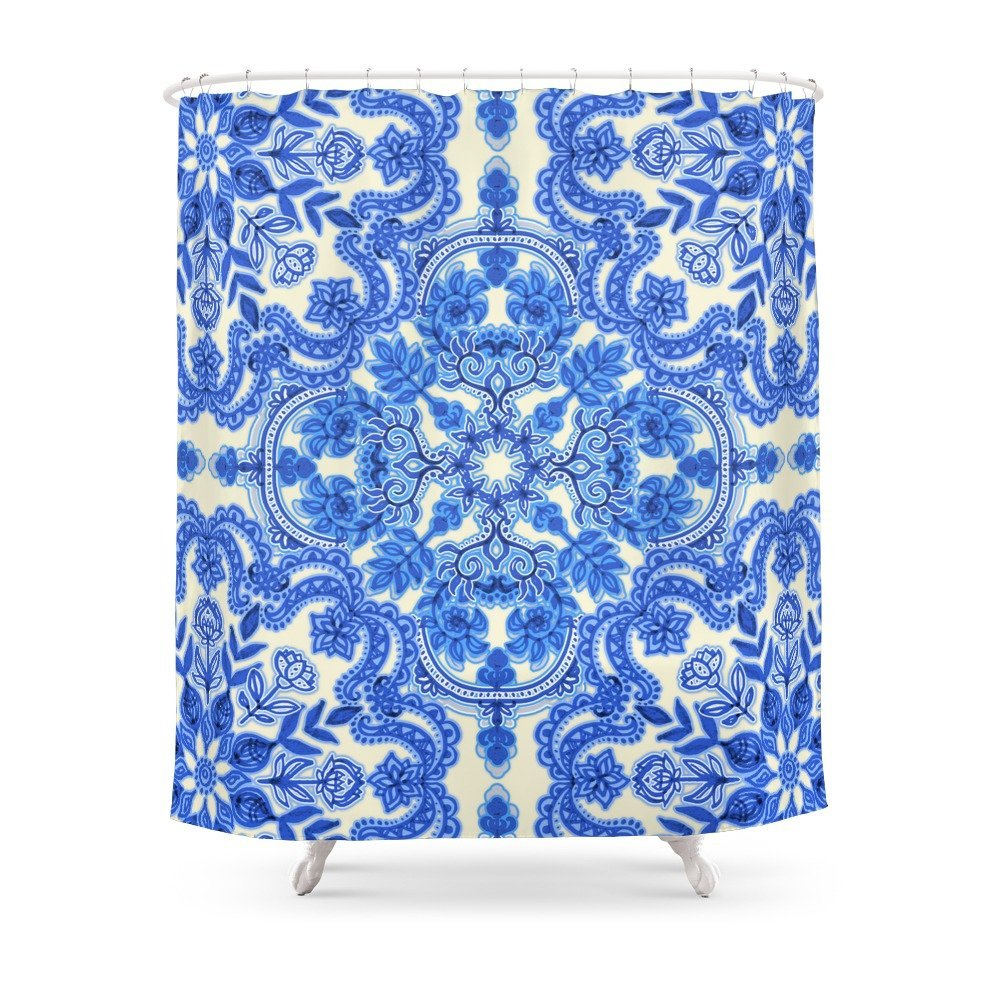 Cobalt Blue China White Folk Art Pattern Shower Curtain Polyester Fabric Bathroom Home Waterproof Print Curtains In From
