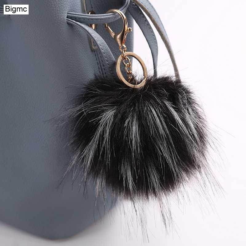 Nova moda Imitação De peles mulheres chaveiro bola de pêlo Pompom Lindo pingente Charme Saco Chave Do Carro anel Melhor Presente jóias K1635