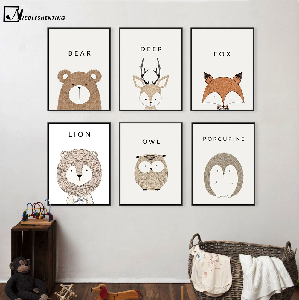 NºNicoleshenting Cartoon animal Deer León oso minimalista Lona de ...