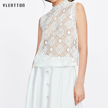 цена на 2019 New Sexy Hollow Out Women's Tank Top Embroidery O-Neck Sleeveless Lace Tank Top Spring summer Fashion White T-shirt Tops