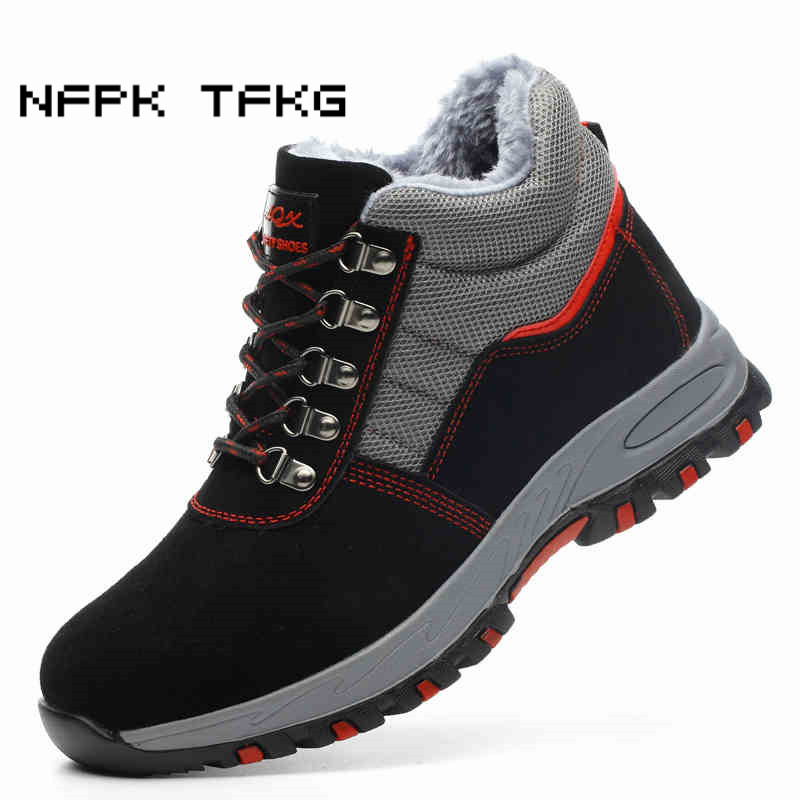 7f2427951d8 large size men fashion steel toe caps work safety winter fur shoes warm  plush ankle snow boots plate platform protective zapatos
