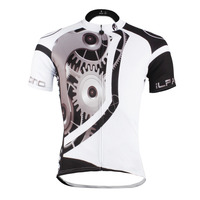 Free Shipping Mechanical Gear Patterns Men S Short Sleeve Cycling Jersey Breathable White Black Ropa Ciclismo