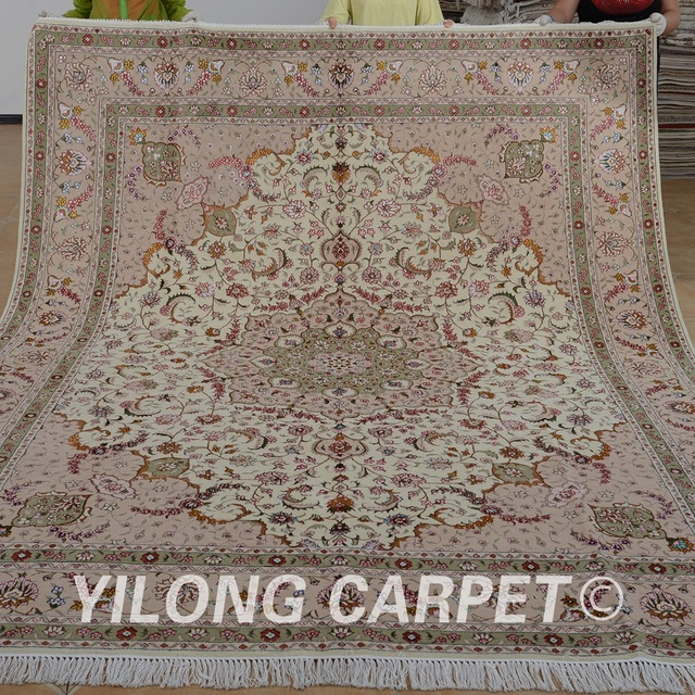 Yilong 8 X10 Turc Laine Tapis Persan D Or Exquis Laine Soie Persan