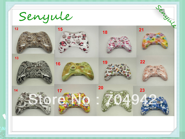 Controller Shell Hand Case for Xbox360 with all spare parts Hydro Graphic Water Transfer printing 2PCS/Lot