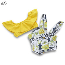 2PCS Infant Baby Girls Clother Summer Outfits Off Shoulder Crop Tops + Floral Print Strap Shorts Pants Fly Sleeve free shipping 2017 summer female baby girls shorts sets infant fly sleeve vest 2pcs suit lollipop