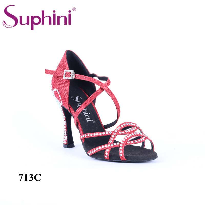 Chaussures de danse latine Suphini à talons hauts avec cristal