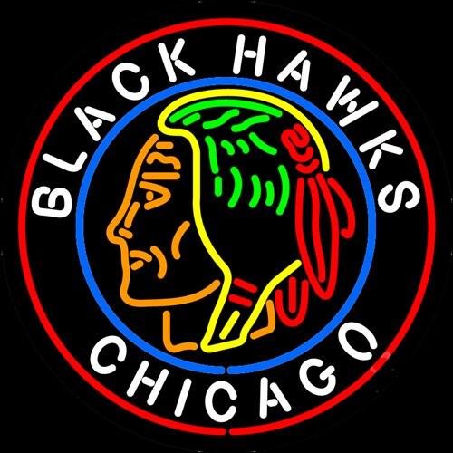 Custom Chicago Blackhawks Glass Neon Light Sign Beer Bar