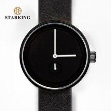 STARKING Negro Mujeres Relojes de Cuarzo Relojes Hombre Reloj Unisex 2017 40mm Diseño Simple de Cuero de Moda Reloj de Pulsera Sin Rostro Masculino