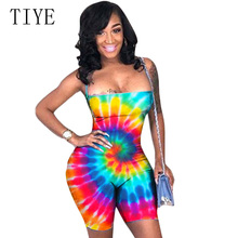 TIYE Strapless Lace Up Backless Jumpsuits Summer Print Women Off Shoulder Bodysuits Sleeveless High Waist Party Club Romper lace insert backless cold shoulder romper