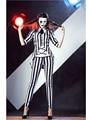 TITIVATE Sexy Cráneo Esqueleto Fantasma Cosplay Traje Adulto Del Partido de Halloween Negro y Rayas Blancas Discoteca Dj Cantante Desgaste de la Danza