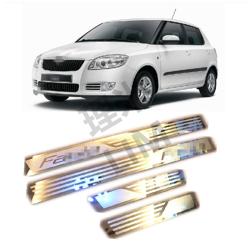 Suitable for Skoda Fabia 2008 2009 2010 2011 2012 2013 Stainless Steel Scuff Plate Door Sill Cover Trim Car Accessories stainless steel strips for toyota highlander 2011 2012 2013 car styling full window trim decoration oem 16 8