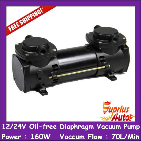 Free Shipping GZ-35B-12 12/24V DC 160w Double Head Diaphragm Vacuum Pump with 70L/min vacuum flow free shipping 220v ac gz35b 220 70l min vacuum flow diaphragm vacuum pump with 100w power oil free double heads vacuum pump