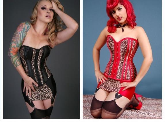 New shapewear lingerie sexy bustiers sexy presentes preto leopard red corset com mini saia emagrecimento underwear lc5296 frete grátis