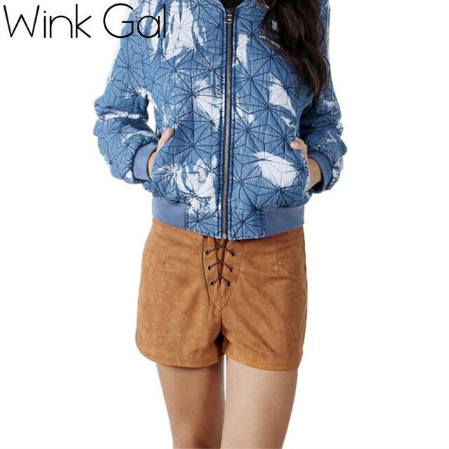 Wink Gal Сексуальные кожаные мини-шортики Винк Гал на осенне-зимний период с высокой талией на завязках, стильно и необычно