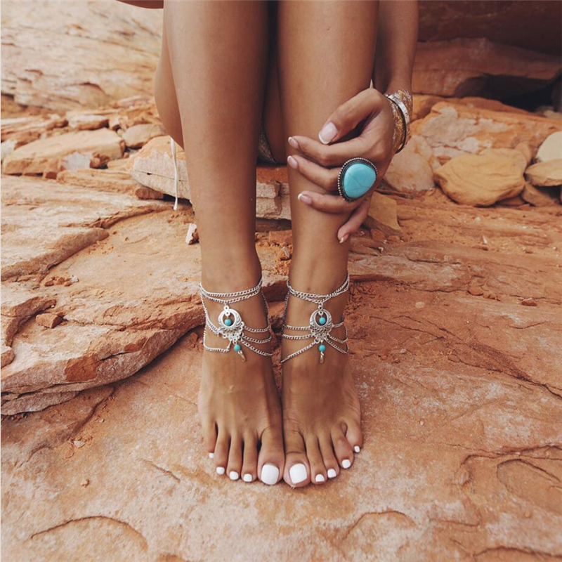 European and American  Wholesale Bohemian Wind Punk Vintage Multi-layer Tassel Pine Stone Ankle Chain Sexy Beach Foot