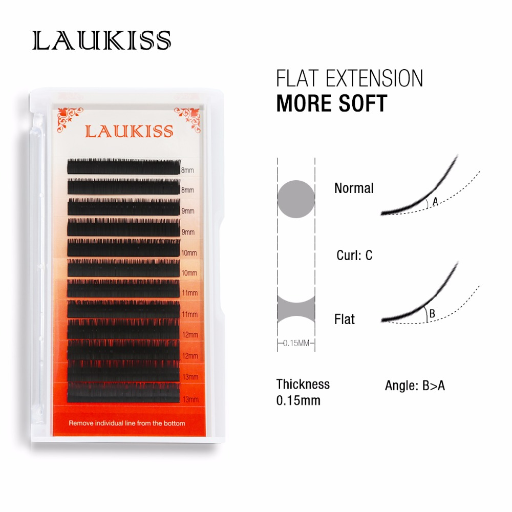 LAUKISS Flat Lashes Eyelashes Handmade Ellipse False Lashes Individual Soft Black Lashes Fake Silk Tools Faux Cils Naturels