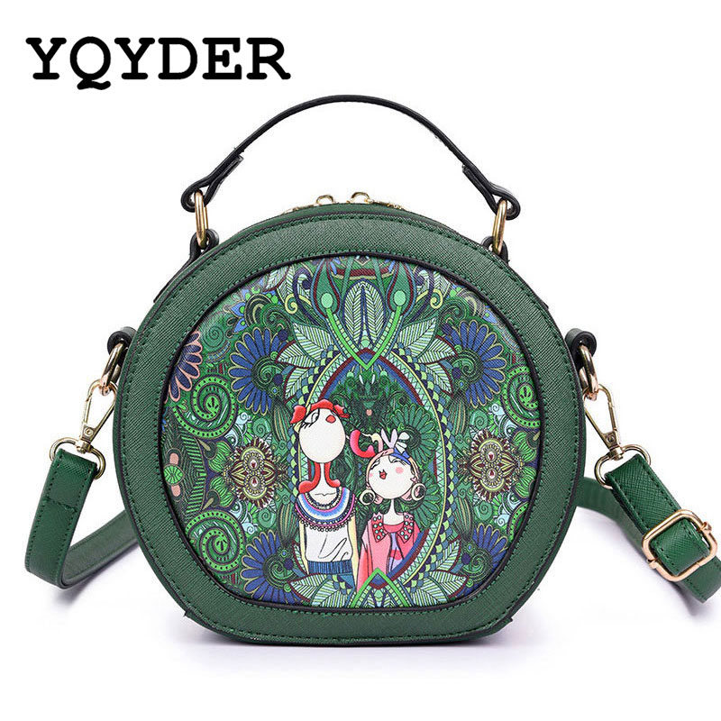 YQYDER Forest Circular Bags Crossbody Bags For Women Bag  Sac A Main Femme 2017 Designer Handbag Lady Hand Bag Fashion Bolsas purse 3 set casual clutch day clutches letter bag luxury handbag women bag designer bolsas beach bag for women lady hand bag sac