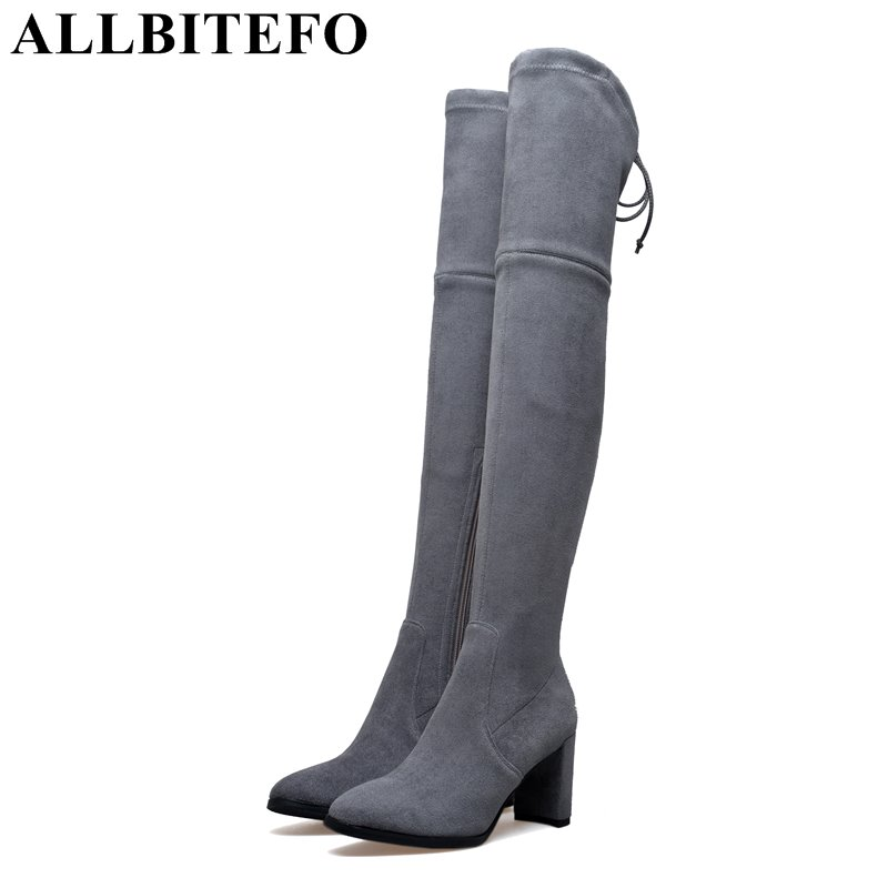 ALLBITEFO fashion brand flock+Stretch material thick heel women boots medium heel rivets high quality long boots girls boots