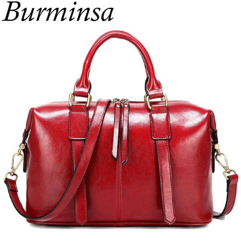 Burminsa Retro Boston Women Genuine Leather Handbags Large Capacity Oil Wax Cow Leather Tote Bags Ladies