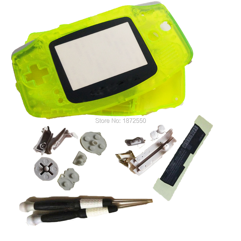 Transprent Yellow Color Housing Fit GameboyAdvance Game Console GBO Boy Shell Case Cover Plastic Screen Lens With Screwdrivers