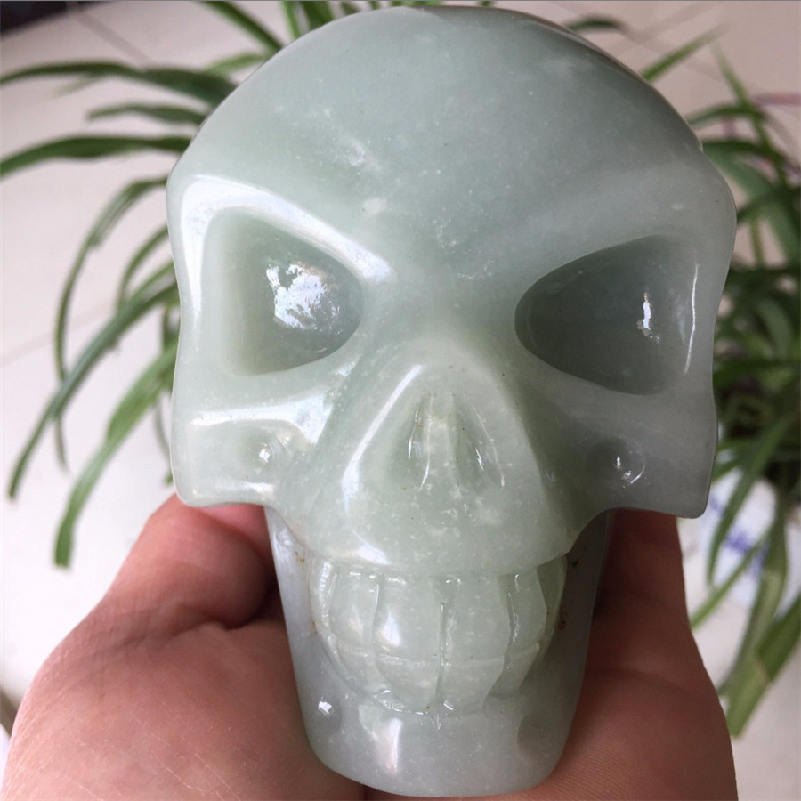 Crâne Aventurine vert naturel cristal de Quartz crâne sculpté en pierre