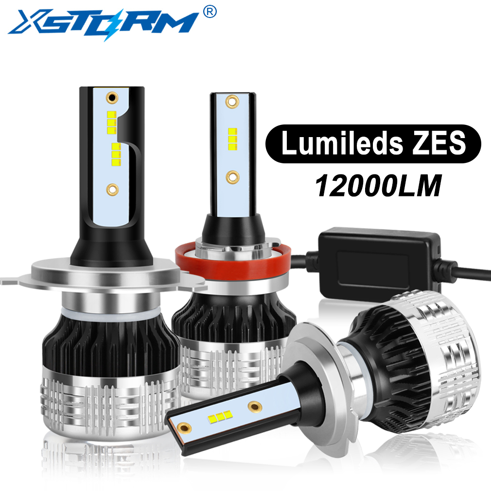 2Pcs H4 H7 Led H1 H11 H8 H3 HB4 HB3 H27 Led With Lumileds ZES Chips Canbus Car Headlight Bulbs 80W 12000LM Auto Lamp Automobiles