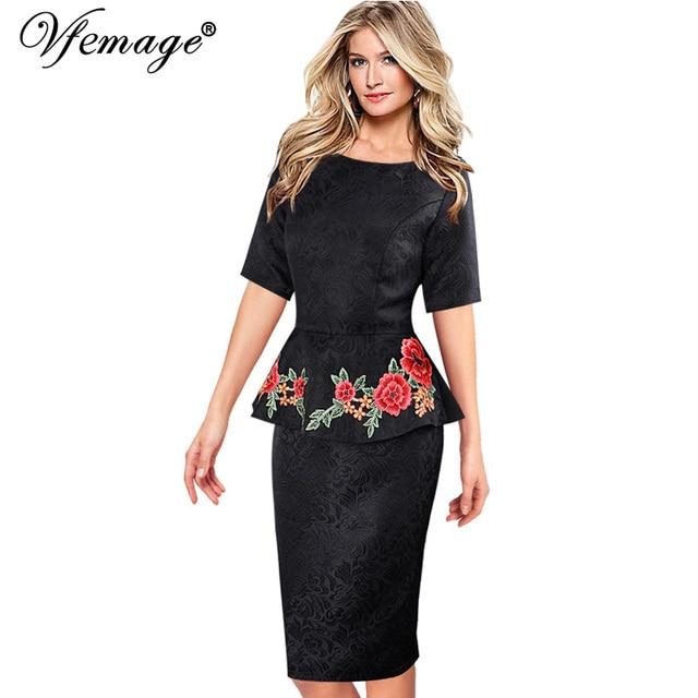 Vfemage женщин элегантный винтаж добби ткани баски партия мать невесты вечер bodycon цветочные вышивка dress 3938