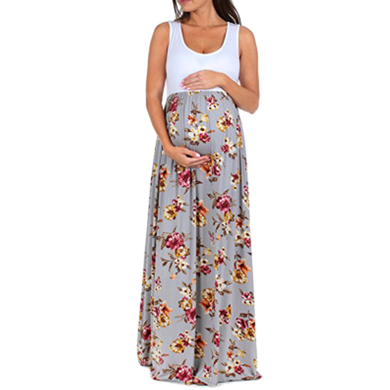 ENXI 2018 Sleeveless Maternity Dress Pregnant Clothes Dress Clothing Women Maternity Summer Print Long Pregnant Dress