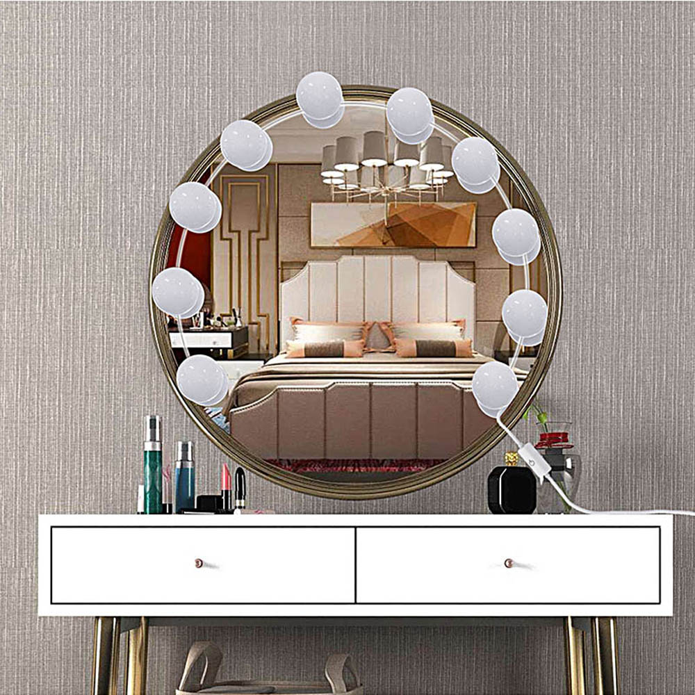 Hollywood Mirror Lights LED  adjustable Bulbs kit Vanity Makeup for wall dresser bathroom with Touch Dimmer and 5V USB plug in 6