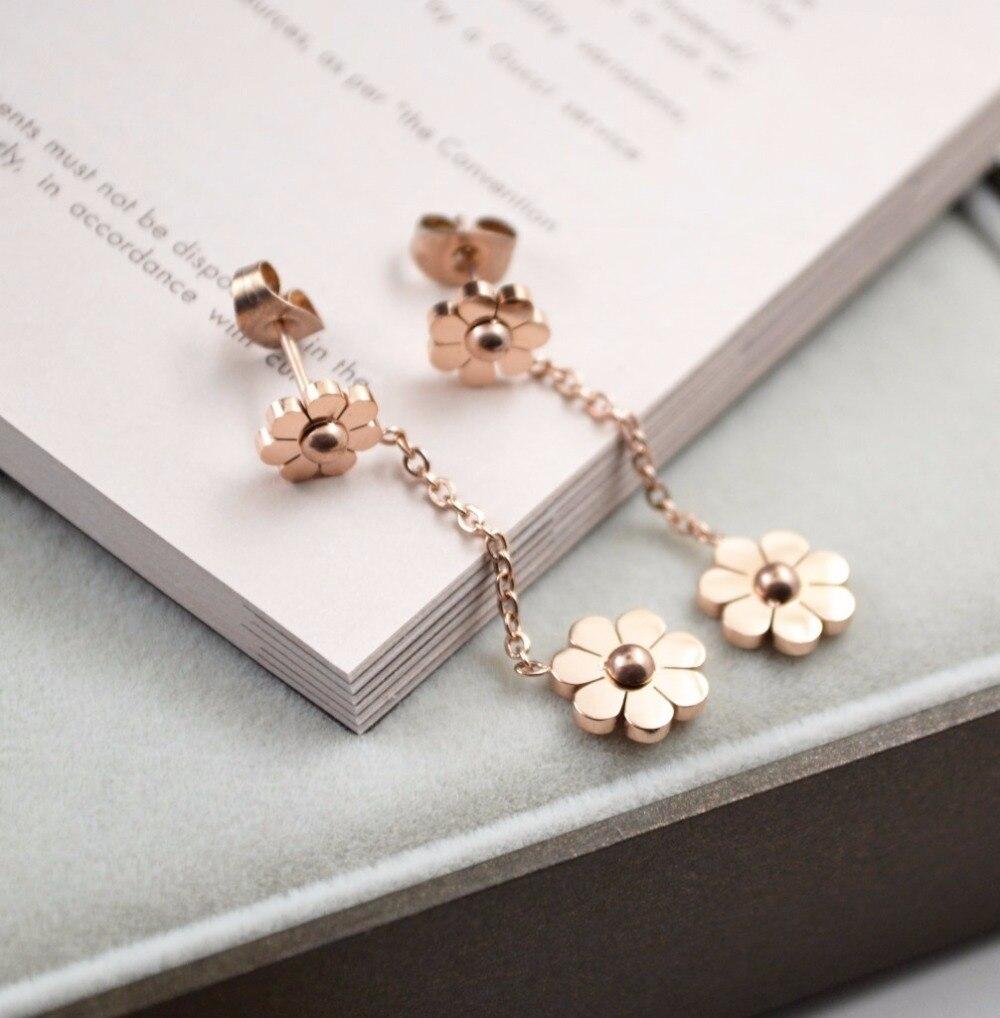 HFYK 2019 cute rose gold daisy stainless steel drop earrings for women long dangle earrings pendientes oorbellen brincos in Drop Earrings from Jewelry Accessories