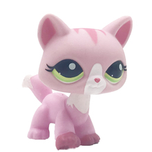 Rare font b pet b font shop lps toys standing mini short hair cat pink kitty