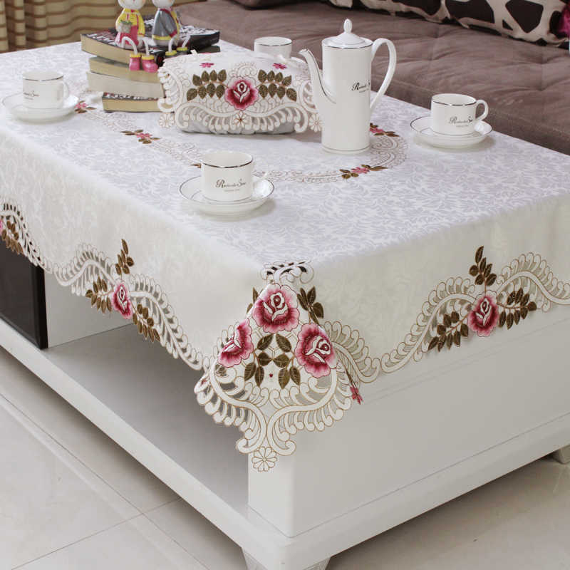 Home hotel dining wedding White Red Table Cloth with Lace Embroidered Floral Rectangular Tablecloth to table covers