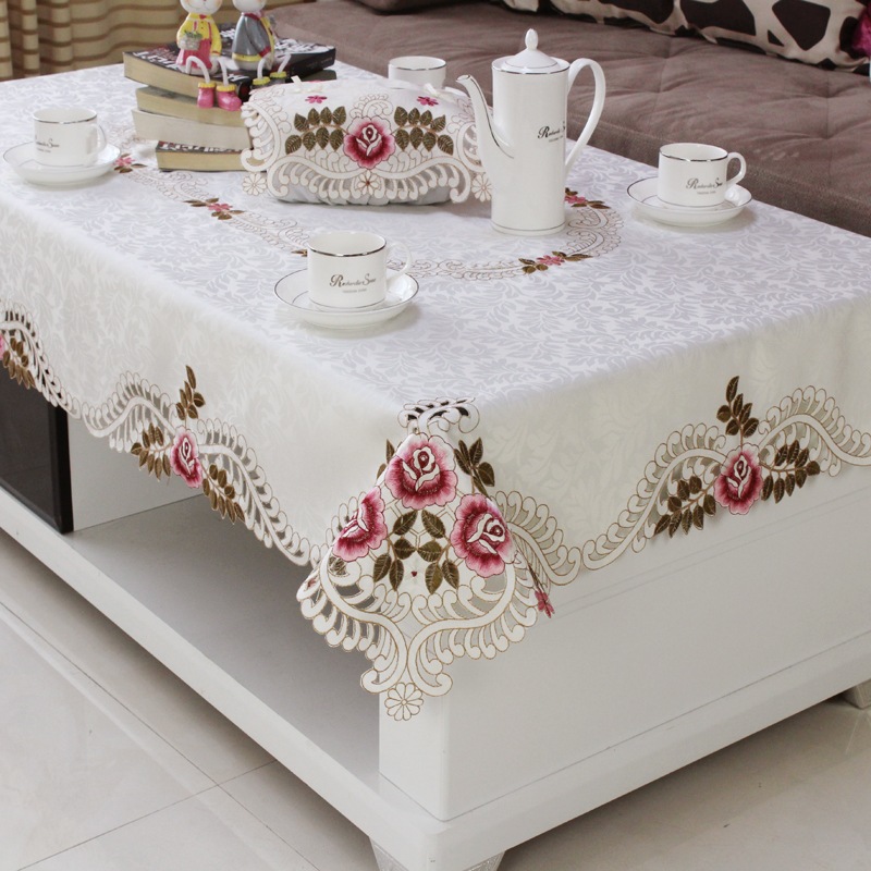 Home Hotel Dining Wedding White Red Table Cloth With Lace Embroidered Floral Rectangular Tablecloth To