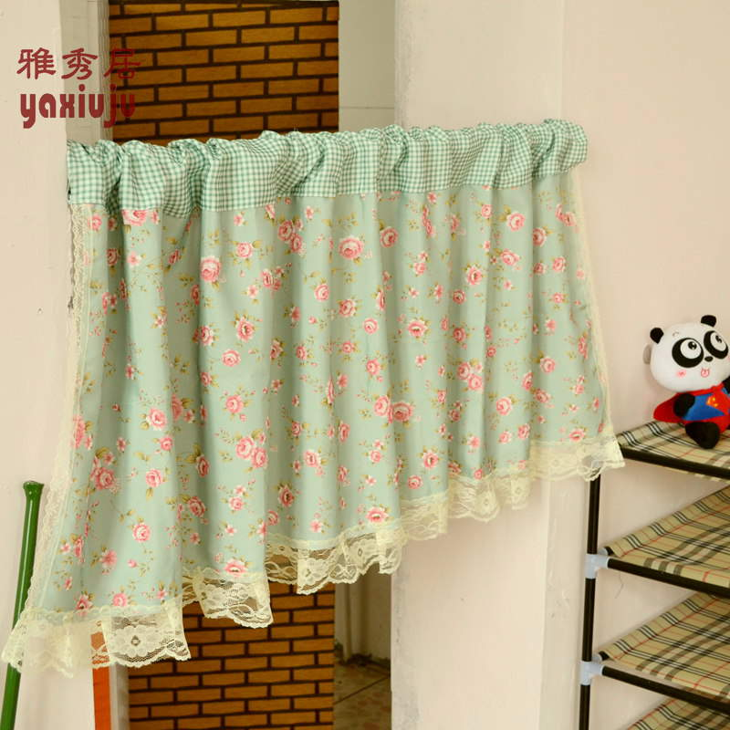 Free Shipping Green Plaid Floral Lace Beautiful Coffee Curtain Semi Shade  Small Short Kitchen Curtains